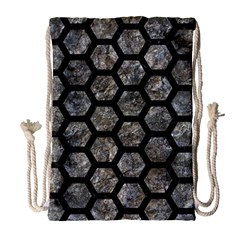 Hexagon2 Black Marble & Gray Stone (r) Drawstring Bag (large)