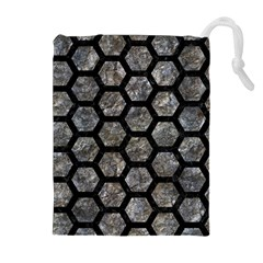Hexagon2 Black Marble & Gray Stone (r) Drawstring Pouches (extra Large)