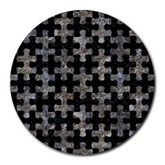 Puzzle1 Black Marble & Gray Stone Round Mousepads