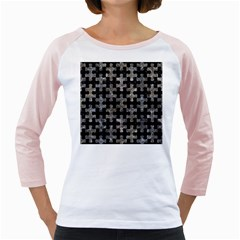 Puzzle1 Black Marble & Gray Stone Girly Raglans