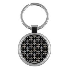 Puzzle1 Black Marble & Gray Stone Key Chains (round)