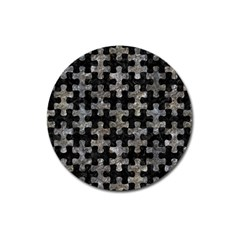 Puzzle1 Black Marble & Gray Stone Magnet 3  (round)