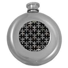 Puzzle1 Black Marble & Gray Stone Round Hip Flask (5 Oz)