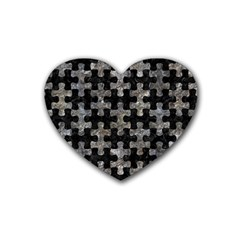 Puzzle1 Black Marble & Gray Stone Heart Coaster (4 Pack)