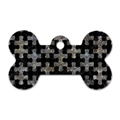 Puzzle1 Black Marble & Gray Stone Dog Tag Bone (one Side)