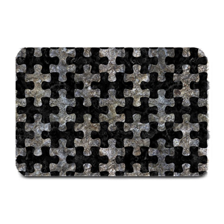 PUZZLE1 BLACK MARBLE & GRAY STONE Plate Mats