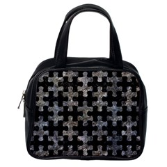 Puzzle1 Black Marble & Gray Stone Classic Handbags (one Side)