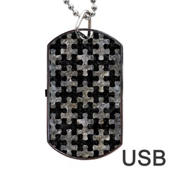 Puzzle1 Black Marble & Gray Stone Dog Tag Usb Flash (one Side)