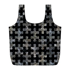 Puzzle1 Black Marble & Gray Stone Full Print Recycle Bags (l)