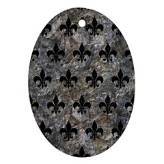 Royal1 Black Marble & Gray Stone Ornament (oval)