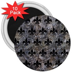 Royal1 Black Marble & Gray Stone 3  Magnets (10 Pack)