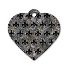 Royal1 Black Marble & Gray Stone Dog Tag Heart (two Sides)