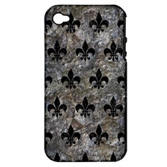 Royal1 Black Marble & Gray Stone Apple Iphone 4/4s Hardshell Case (pc+silicone)