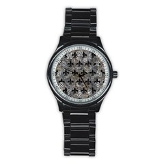 Royal1 Black Marble & Gray Stone Stainless Steel Round Watch