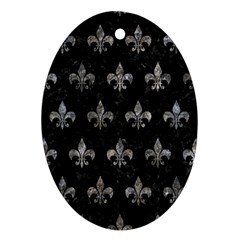 Royal1 Black Marble & Gray Stone (r) Oval Ornament (two Sides)