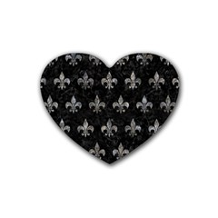 Royal1 Black Marble & Gray Stone (r) Rubber Coaster (heart)