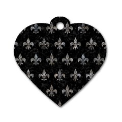 Royal1 Black Marble & Gray Stone (r) Dog Tag Heart (one Side)