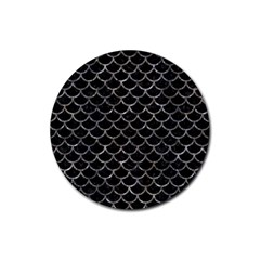 Scales1 Black Marble & Gray Stone Rubber Coaster (round)