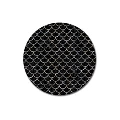 Scales1 Black Marble & Gray Stone Magnet 3  (round)