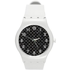 Scales1 Black Marble & Gray Stone Round Plastic Sport Watch (m)