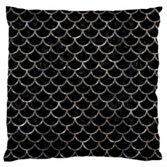 Scales1 Black Marble & Gray Stone Large Flano Cushion Case (one Side)