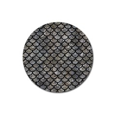 Scales1 Black Marble & Gray Stone (r) Magnet 3  (round)