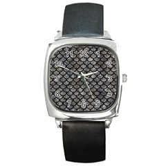 Scales1 Black Marble & Gray Stone (r) Square Metal Watch