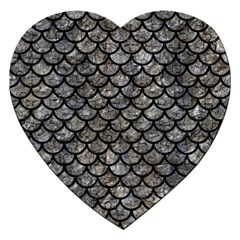 Scales1 Black Marble & Gray Stone (r) Jigsaw Puzzle (heart)