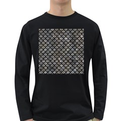 Scales1 Black Marble & Gray Stone (r) Long Sleeve Dark T Shirts