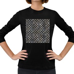 Scales1 Black Marble & Gray Stone (r) Women s Long Sleeve Dark T Shirts