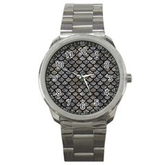Scales1 Black Marble & Gray Stone (r) Sport Metal Watch