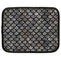 Scales1 Black Marble & Gray Stone (r) Netbook Case (large)