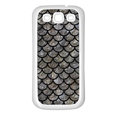 Scales1 Black Marble & Gray Stone (r) Samsung Galaxy S3 Back Case (white)
