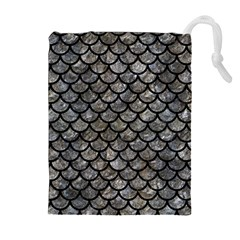 Scales1 Black Marble & Gray Stone (r) Drawstring Pouches (extra Large)