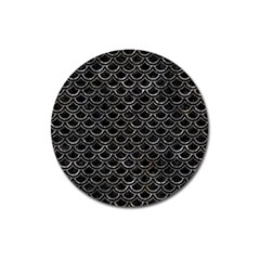Scales2 Black Marble & Gray Stone Magnet 3  (round)