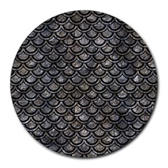 Scales2 Black Marble & Gray Stone (r) Round Mousepads