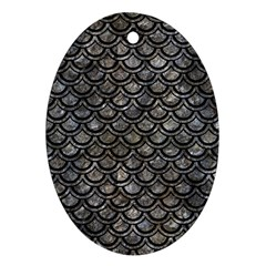 Scales2 Black Marble & Gray Stone (r) Ornament (oval)