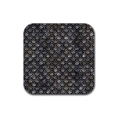 Scales2 Black Marble & Gray Stone (r) Rubber Square Coaster (4 Pack)