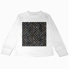 Scales2 Black Marble & Gray Stone (r) Kids Long Sleeve T Shirts