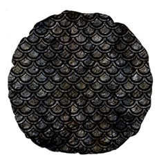 Scales2 Black Marble & Gray Stone (r) Large 18  Premium Round Cushions