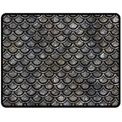 Scales2 Black Marble & Gray Stone (r) Double Sided Fleece Blanket (medium)