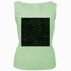 Scales3 Black Marble & Gray Stone Women s Green Tank Top