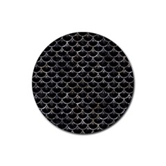 Scales3 Black Marble & Gray Stone Rubber Coaster (round)