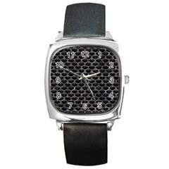 Scales3 Black Marble & Gray Stone Square Metal Watch