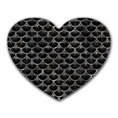 Scales3 Black Marble & Gray Stone Heart Mousepads