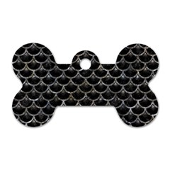 Scales3 Black Marble & Gray Stone Dog Tag Bone (two Sides)