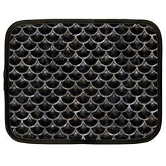 Scales3 Black Marble & Gray Stone Netbook Case (xl)