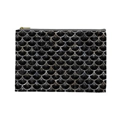 Scales3 Black Marble & Gray Stone Cosmetic Bag (large)