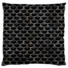 Scales3 Black Marble & Gray Stone Large Cushion Case (one Side)