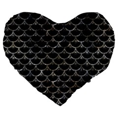 Scales3 Black Marble & Gray Stone Large 19  Premium Flano Heart Shape Cushions